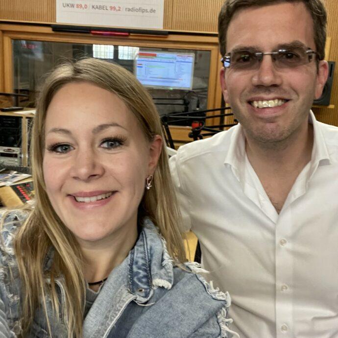 Selfie von Lorraine und Christoph Schüly in Studio 1